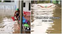 Pemuda di Bekasi pakai perlengkapan bak atlet asyik renang saat banjir. (Sumber: TikTok/@avpz6)