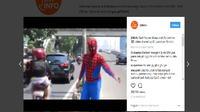 Aksi heroik Spiderman di JLNT Casablanca (Istimewa)