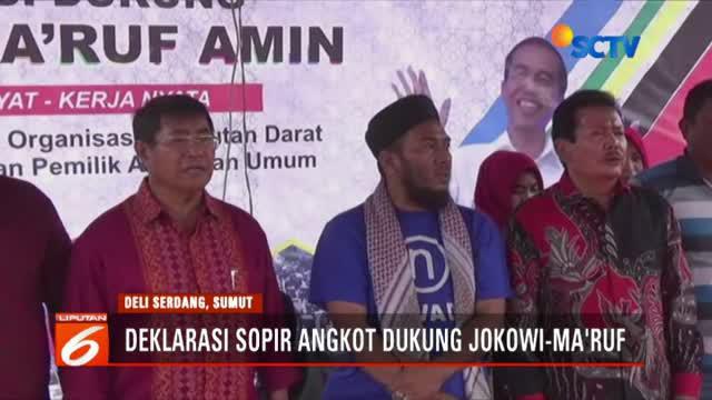 Ratusan pengemudi angkot di Deli Serdang, Sumatra Utara mendeklarasikan dukungan untuk Jokowi-Ma'ruf Amin.