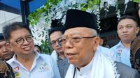 Cawapres Ma'ruf Amin menepis isu hoaks yang menyebut Presiden Jokowi Anti Islam (Liputan.com / Nefri Inge)