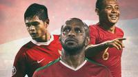 Timnas Indonesia - Bambang Pamungkas, Boaz Solossa, Evan Dimas (Bola.com/Adreanus Titus)