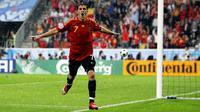Striker Spanyol, David Villa, usai mencetak gol ke gawang Rusia, pada pertandingan penyisihan grup Piala Eropa 2008. (UEFA).
