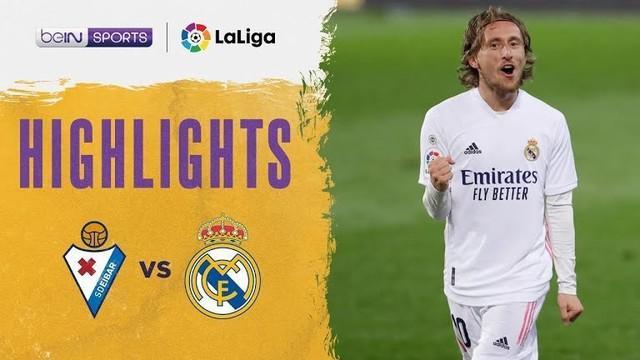 Berita video highlights laga pekan ke-14 Liga Spanyol 2020/2021 antara Eibar melawan Real Madrid yang berakhir dengan skor 1-3, Senin (21/12/2020) dinihari WIB.