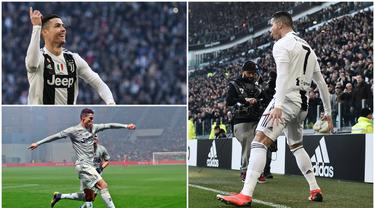Berikut ragam selebrasi Crsitiano Ronaldo usai mencetak gol untuk Juventus. (Foto Kolase AFP)