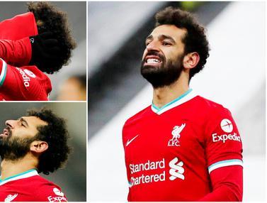 FOTO: Ekspresi Mohamed Salah Usai Gagal Mencetak Gol di Laga Liverpool Kontra Newcastle United