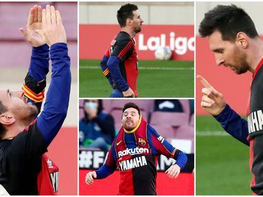 Lionel Messi tampak berkaca-kaca menahan tangis saat melakukan selebrasi emosional sebagai tribut untuk mendiang Diego Maradona. Messi mengenakan jersey Newell's Old Boys dengan nomor punggung 10 yang pernah dikenakan Maradona.