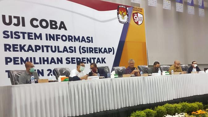 Pembukaan uji coba dan simulasi aplikasi E-rekap/Sirekap Pemilihan Serentak 2020 di Jalak Harupat, Kabupaten Bandung, Jawa Barat, Rabu, 9 September 2020. (sumber foto : Humas KPU Jawa Barat)