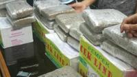 Paket narkoba berisi daun ganja kering diamankan petugas Terminal Kargo Bandara SMB II Palembang (Liputan6.com / Nefri Inge)