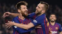 2. Jordi Alba - Messi dan Alba menikmati bermain bersama di lapangan, dan punya chemistry yang bagus. Ketika Alba maju ke depan, dia sepertinya sudah tahu di mana posisi Messi atau apa yang harus dilakukannya.(AFP/Josep Lago)