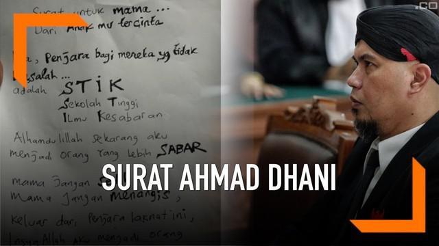 Ahmad Dhani kirim surat untuk sang ibunda dari balik Rutan Medaeng. Dalam suratnya, ia mengaku akan lebih sabar lagi.