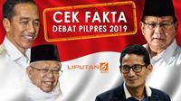 Banner Cek Fakta Debat Pilpres 2019. (Liputan6.com/Triyasni)