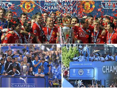Manchester United menjadi klub yang paling banyak meraih gelar juara kompetisi liga Inggris sejak awal dimulainya era Premier League. Berikut daftar klub peraih trofi juara kompetisi liga Inggris di era Premier League. (kolase foto AFP)