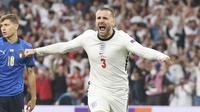 Bek Timnas Inggris, Luke Shaw, mencatatkan rekor istimewa setelah berhasil menjebol gawang Timnas Italia di final Euro 2020. (Foto:AFP/Andy Rain,Pool)