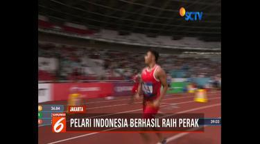 Empat sprinter Indonesia sukses sentuh garis finis nomor 4x100 meter estafet putra dengan waktu 38,77 detik.