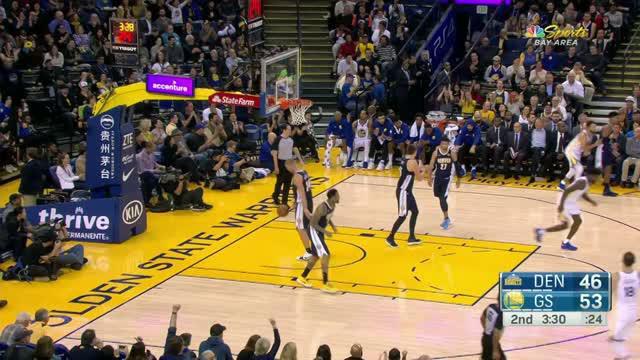 Berita video game recap NBA 2017-2018 antara Golden State Warriors melawan Danver Nuggets dengan skor 124-114.