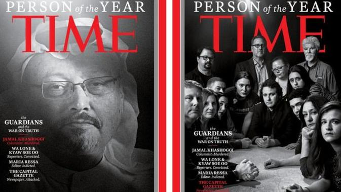 Jamal Khashoggi (kiri) dan staf The Capital Gazette (kanan) dalam sampul Time's Person of the Year (screengrab / Time)
