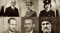(Atas, dari kiri ke kanan) Behic Erkin, King Zog I of Albania, Noor Inayat Khan; (Bawah, dari kiri  ke kanan) Mohamed Helmy, Rifat Abdyl Hoxha, Ahmed Pasha Bey (I Am Your Protector)