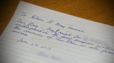 Surat dari sang gelandangan yang meminta uangnya disumbangkan dan memilih dicarikan pekerjaan