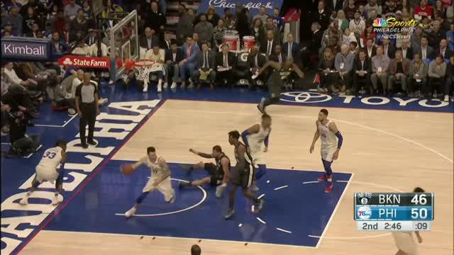 Berita video game recap NBA 2017-2018 antara Philadelphia 76ers melawan Brooklyn Nets dengan skor 121-95.