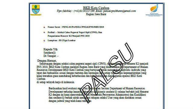 Heboh Surat Pengangkatan Honorer K2 Di Kota Cirebon Pemkot