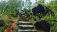 Jalan menanjak banyak ditemui di lokasi situs Megalitik Tutari di Kampung Doyo Lama, Kabupaten Jayapura. (Liputan6.com/Hari Suroto/Katharina Janur)