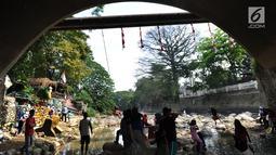 Warga bermain di kolong jembatan Sempur, Bogor (16/9). Musim kemarau yang menyebabkan debit Sungai Ciliwung menyusut drastis dimanfaatkan warga Bogor dan sekitarnya untuk berwisata murah dan gratis di aliran sungai. (Merdeka.com/Arie Basuki)