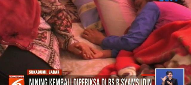 Kemunculan Nining yang sempat dianggap meninggal dunia 1,5 tahun lalu akibat tenggelam menggegerkan warga Kota Sukabumi, Jawa Barat.