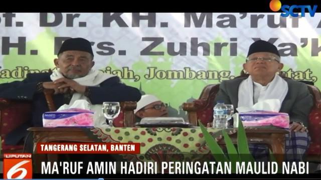 Cawapres nomor urut nol satu Ma'ruf Amin menghadiri peringatan Maulid Nabi Muhammad yang digelar di Pondok Pesantren Madinatun Jannah di Tangerang Selatan, Banten.