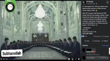 Gambar Tangkapan Layar Video yang Diklaim Anggota Dewan di Turki Baca Alquran Sebelum Rapat (sumber: Facebook).