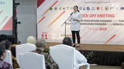 Menko PMK Puan Maharani memimpin Kick Off Meeting Percepatan Pencapaian Sasaran dan Target Bidang Pembangunan Manusia dan Kebudayaan 2019, Jakarta, Senin (11/2). Rapat khususnya membahas pembangunan dan kesejahteran masyarakat. (Liputan6.com/FaizalFanani)