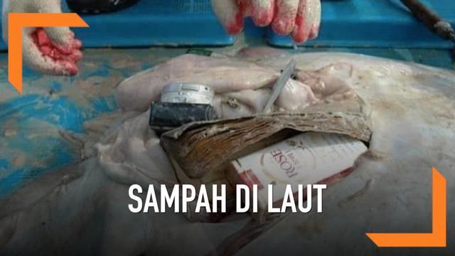 Deretan foto ikan pari mati viral di media sosial. Di dalam perut ikan pari ditemukan bungkus rokok, buku, hingga kamera.