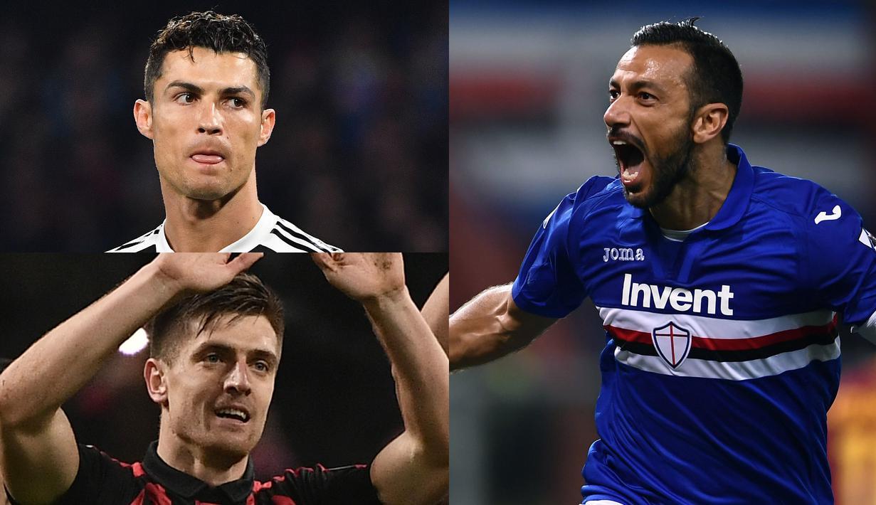 Usai terancam dengan Piatek, Kini Cristiano Ronaldo meski berbagi tempat dengan Fabio Quagliarella di puncak usai penyerang Sampdoria tersbeut mencetak dua gol kala berjumpa SPAL di laga lanjutan Serie A.  (Kolase Foto AFP)