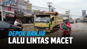 VIDEO: Mampang Depok Terendam Banjir, Lalu Lintas Jalan Raya Sawangan Macet