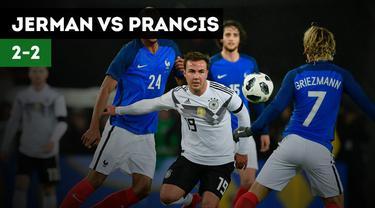Timnas Jerman bermain imbang 2-2 melawan Prancis di Stadion RheinEnergie, Rabu (15/11/2017) dinihari WIB.