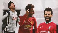 Son Heung-Min, Bruno Fernandes dan Mohamed Salah. (Bola.com/Dody Iryawan)