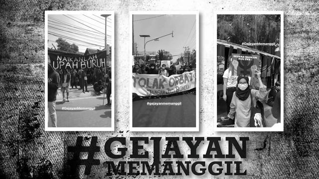 Kelompok yang menyebut dirinya Aliansi Rakyat Bergerak menyuarakan tujuh tuntutan dalam aksi damai #GejayanMemanggil di Yogyakarta.