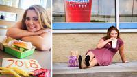 Mikayla memilih mengabadikan dirinya di buku tahunan dengan berfoto di restoran cepat saij (Jana Cooley)