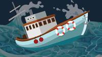 Ilustrasi kapal tenggelam. Ilustrasi: Kriminologi.id