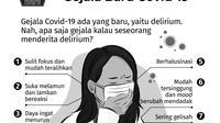 Infografis yang menyebut bahwa delirium merupakan gejala baru dari COVID-19, penyakit yang disebabkan Virus Corona SARS-CoV-2, tersebar di media sosial dan grup WhatsApp. (Sumber: Istimewa)