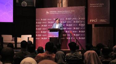 Dubes Indonesia untuk Korea Selatan, Umar Hadi Memberi Sambutan Pada Acara Konferensi Indonesia-Korea 2019: Charting a Blueprint for Robust Partnership yang digelar dengan kerjasama FPCI pada Rabu (18/9/2019) (Liputan6.com/Hugo Dimas)