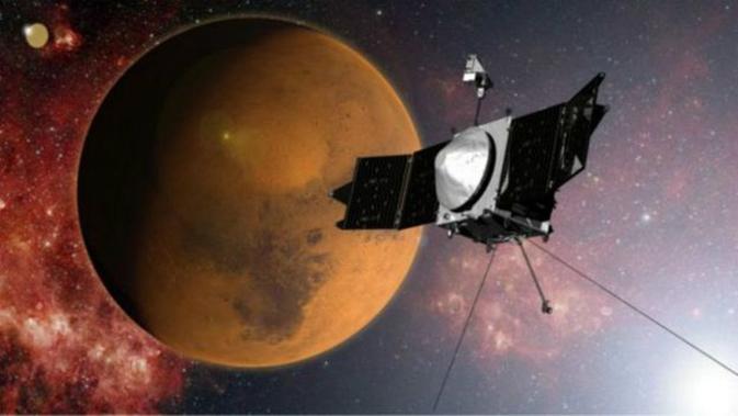 Ilustrasi satelit mengorbit di Planet Mars. (NASA)