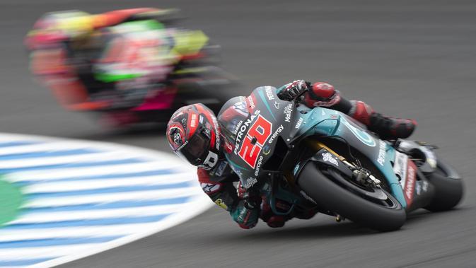Pembalap Petronas Yamaha, Fabio Quartararo, meraih pole position di MotoGP Jerez 2019. (AFP/Jorge Guerrero)