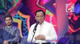 Direktur Surya Citra Media dan Direktur Utama Indosiar, Imam Sudjarwo memberikan sambutan dalam halalbihalal Emtek Group di Studio 6 Emtek City, Jakarta, Selasa (25/6/2019). Gelaran diselenggarakan untuk menjalin silaturahmi sekaligus menguatkan hubungan antar-karyawan. (Liputan6.com/Faizal Fanani)