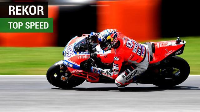 Berita video daftar pencetak rekor top speed di MotoGP, di mana nama Valentino Rossi dan Marc Marquez tidak masuk 5 besar.
