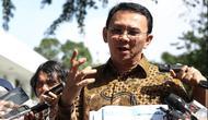 Gubenur DKI Jakarta Basuki Tjahaja Purnama (Ahok) usai mengikuti rapat terbatas di Istana Kepresidenan, Jakarta, Rabu (27/4/2016). (Liputan6.com/Faizal Fanani)