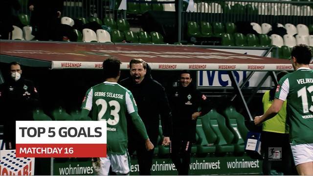 Berita video 5 gol terbaik pekan ke-16 Bundesliga 2020/2021, di mana salah satunya torehan menarik dari bek Werder Bremen.