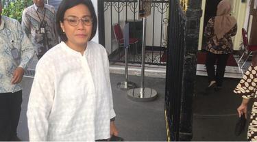Sri Mulyani saat menyambangi Istana Kepresidenan. (Merdeka.com/Titin Supriatin)
