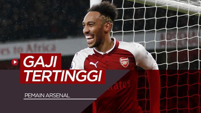 Berita motion grafis 5 pemain Arsenal dengan gaji tertinggi, Pierre-Emerick Aubameyang di posisi kedua.