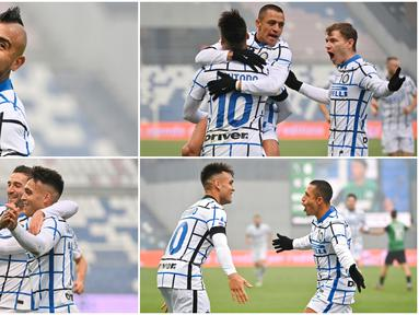 Kebahagiaan terpancar dari pemain Inter Milan usai berhasil menang telak atas tuan rumah Sassuolo pada laga Liga Italia. Pada laga tersebut il Nerazzurri menang tiga gol tanpa balas.