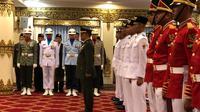 Paskibraka 2019 dari tim Merah bertugas pada upacara HUT ke-74 RI di pagi hari, sedangkan tim Putih bertugas di upacara sore hari (Liputan6.com/Ratu Annisa Suryasumirat)